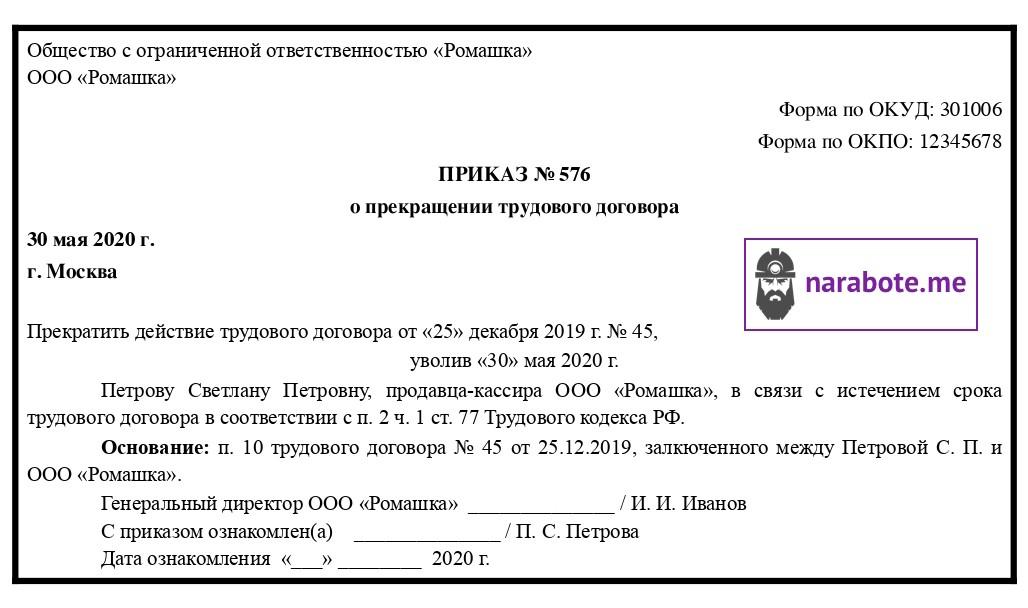 Приказ о прекращении трудового договора в связи с истечением срока его действия