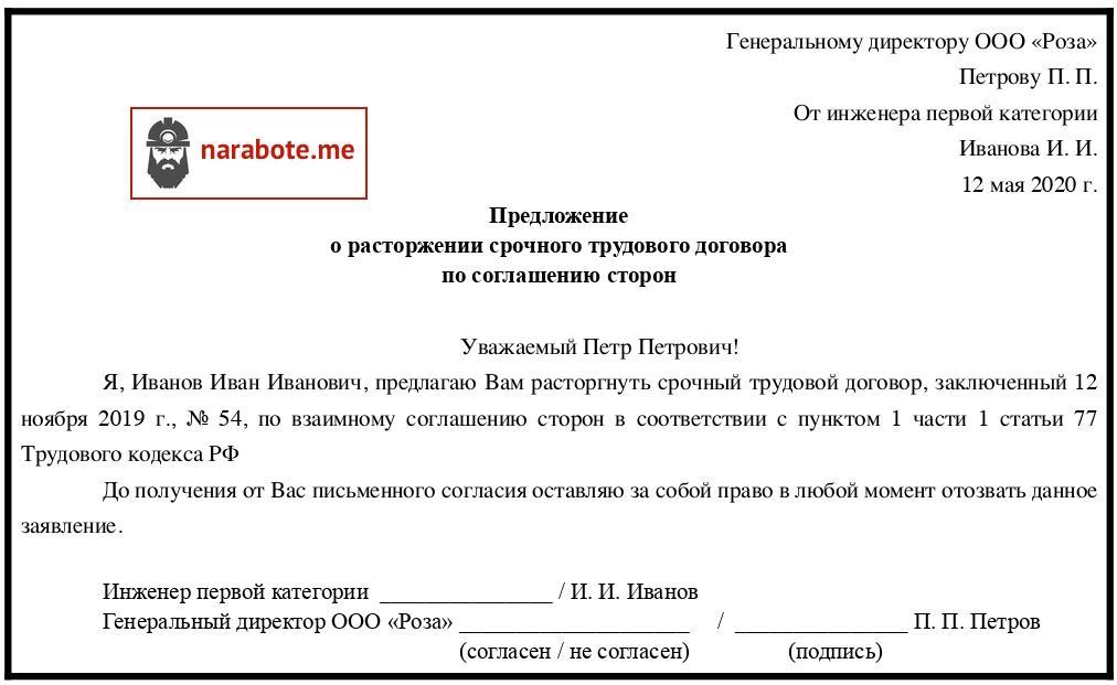 Предложение о расторжении срочного трудового договора по соглашению сторон (инициатор - работник)