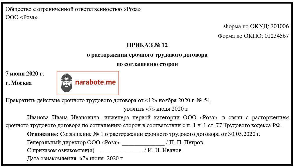 Приказ о расторжении срочного трудового договора по соглашению сторон (образец)