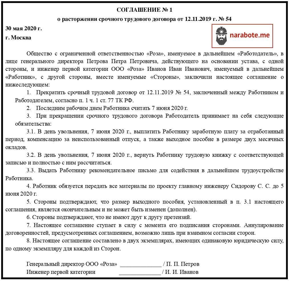 Соглашение о расторжении срочного трудового договора (образец)