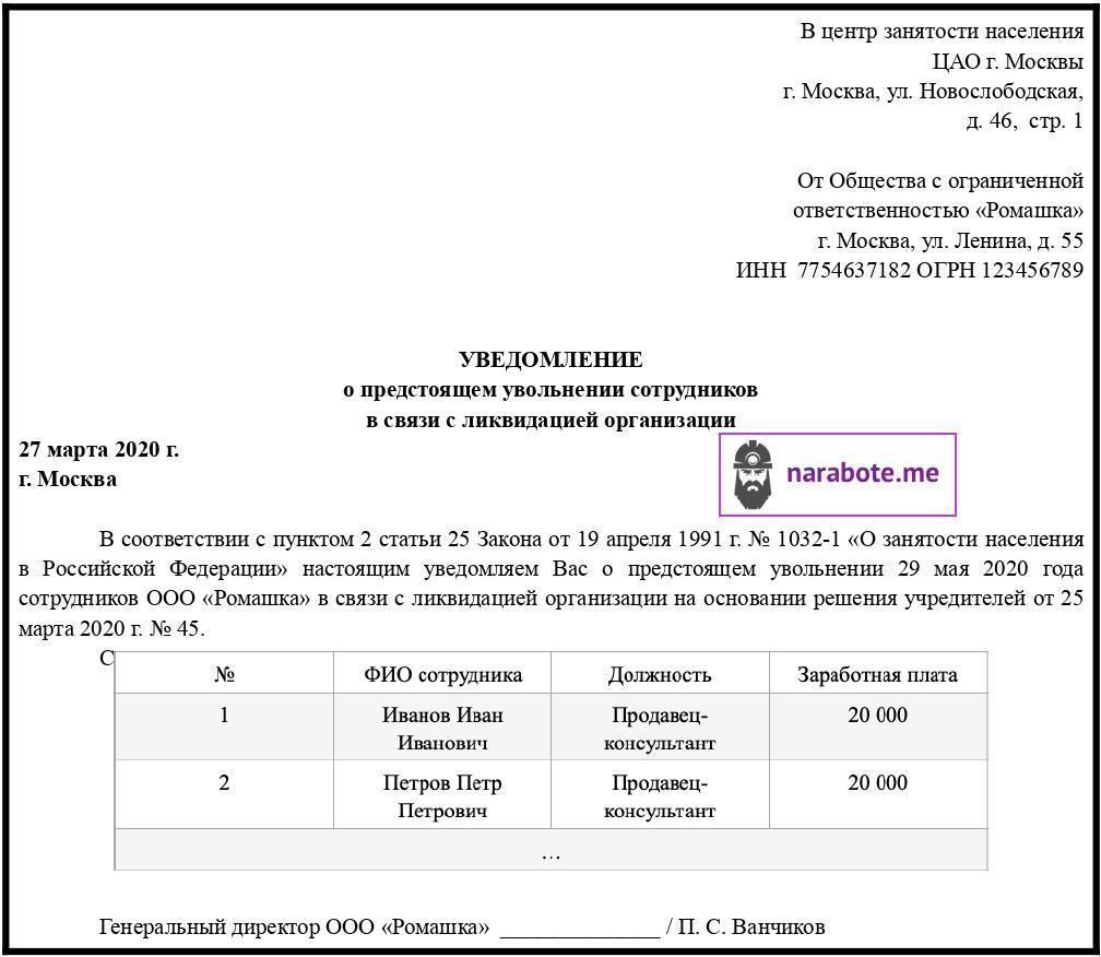 Уведомление в Центр занятости о предстоящем расторжении срочного трудового договора в связи с ликвидацией организации
