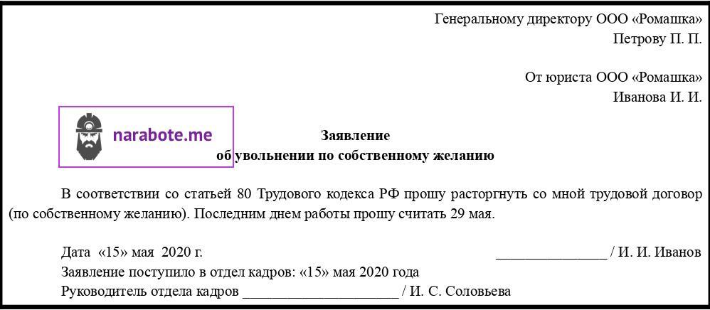 Заявление о прекращении срочного трудового договора по собственному желанию