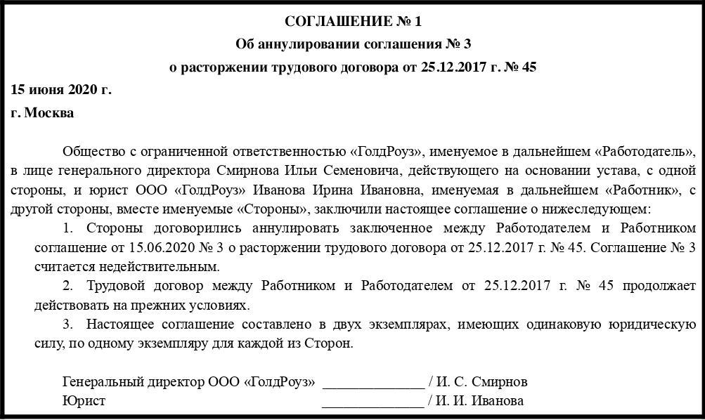 Аннулирование соглашения о расторжении трудового договора (образец)